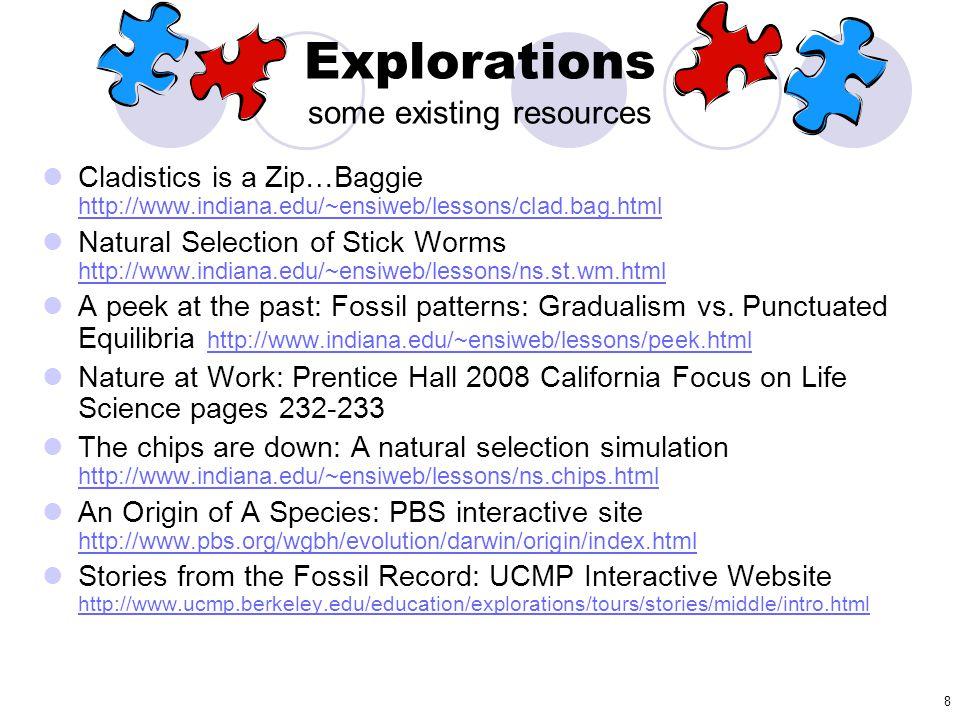 8 Cladistics is a Zip…Baggie http://www.indiana.edu/~ensiweb/lessons/clad.bag.html http://www.indiana.edu/~ensiweb/lessons/clad.bag.html Natural Selec