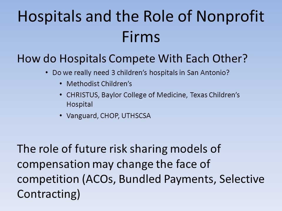 Hospitals and the Role of Nonprofit Firms How do Hospitals Compete With Each Other.