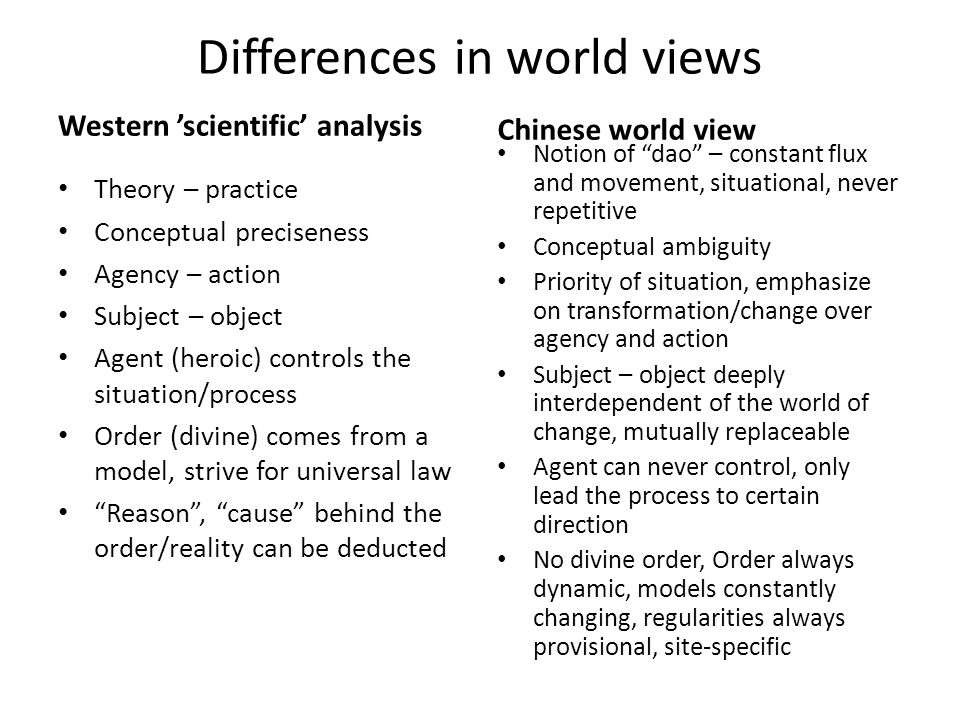 Differences in world views Western 'scientific' analysis Theory – practice Conceptual preciseness Agency – action Subject – object Agent (heroic) controls the situation/process Order (divine) comes from a model, strive for universal law Reason , cause behind the order/reality can be deducted Chinese world view Notion of dao – constant flux and movement, situational, never repetitive Conceptual ambiguity Priority of situation, emphasize on transformation/change over agency and action Subject – object deeply interdependent of the world of change, mutually replaceable Agent can never control, only lead the process to certain direction No divine order, Order always dynamic, models constantly changing, regularities always provisional, site-specific
