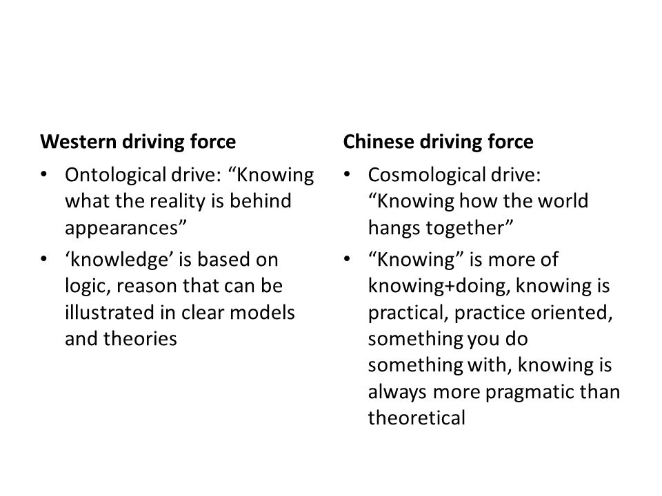 Western driving force Ontological drive: Knowing what the reality is behind appearances 'knowledge' is based on logic, reason that can be illustrated in clear models and theories Chinese driving force Cosmological drive: Knowing how the world hangs together Knowing is more of knowing+doing, knowing is practical, practice oriented, something you do something with, knowing is always more pragmatic than theoretical