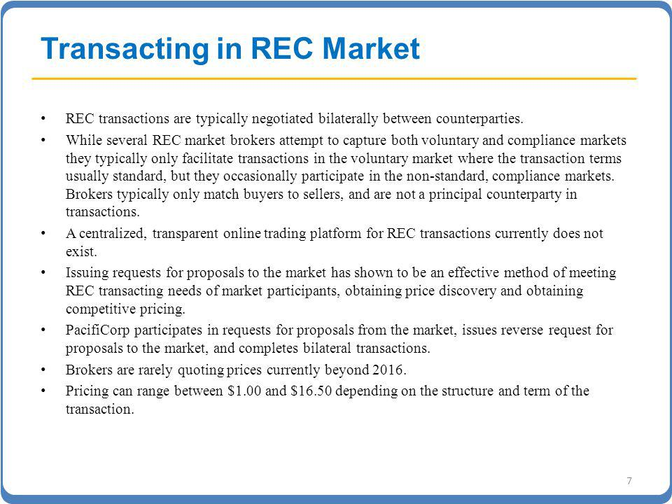 Transacting in REC Market REC transactions are typically negotiated bilaterally between counterparties.