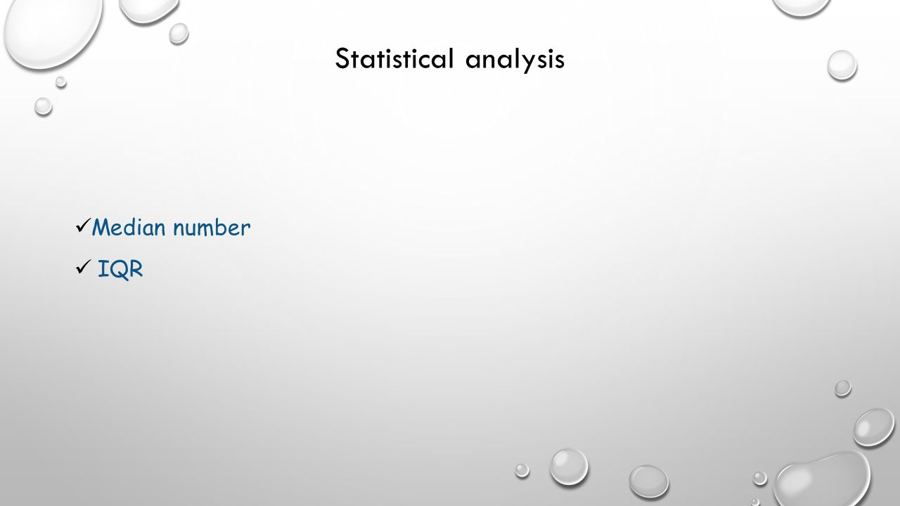 Statistical analysis Median number IQR