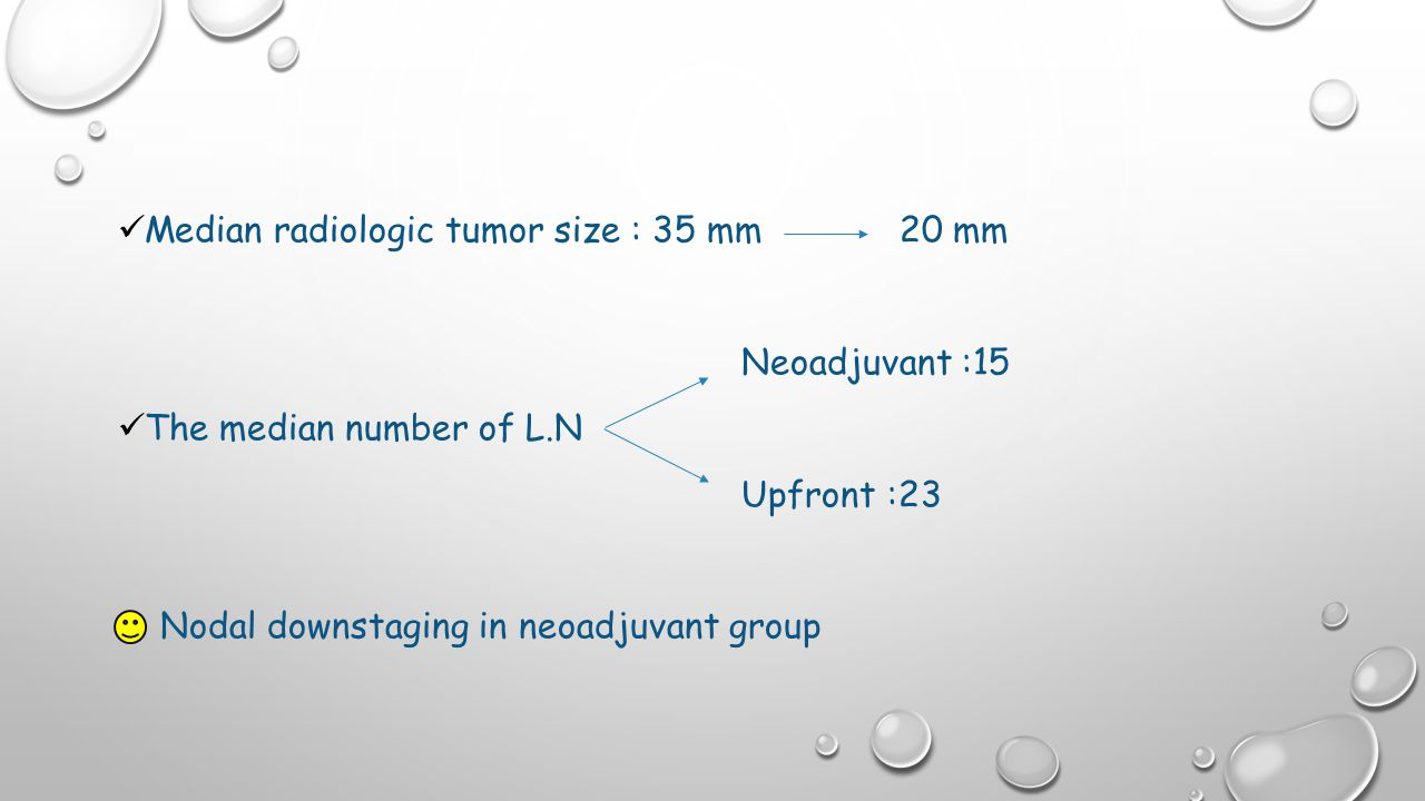 Median radiologic tumor size : 35 mm 20 mm Neoadjuvant :15 The median number of L.N Upfront :23 Nodal downstaging in neoadjuvant group