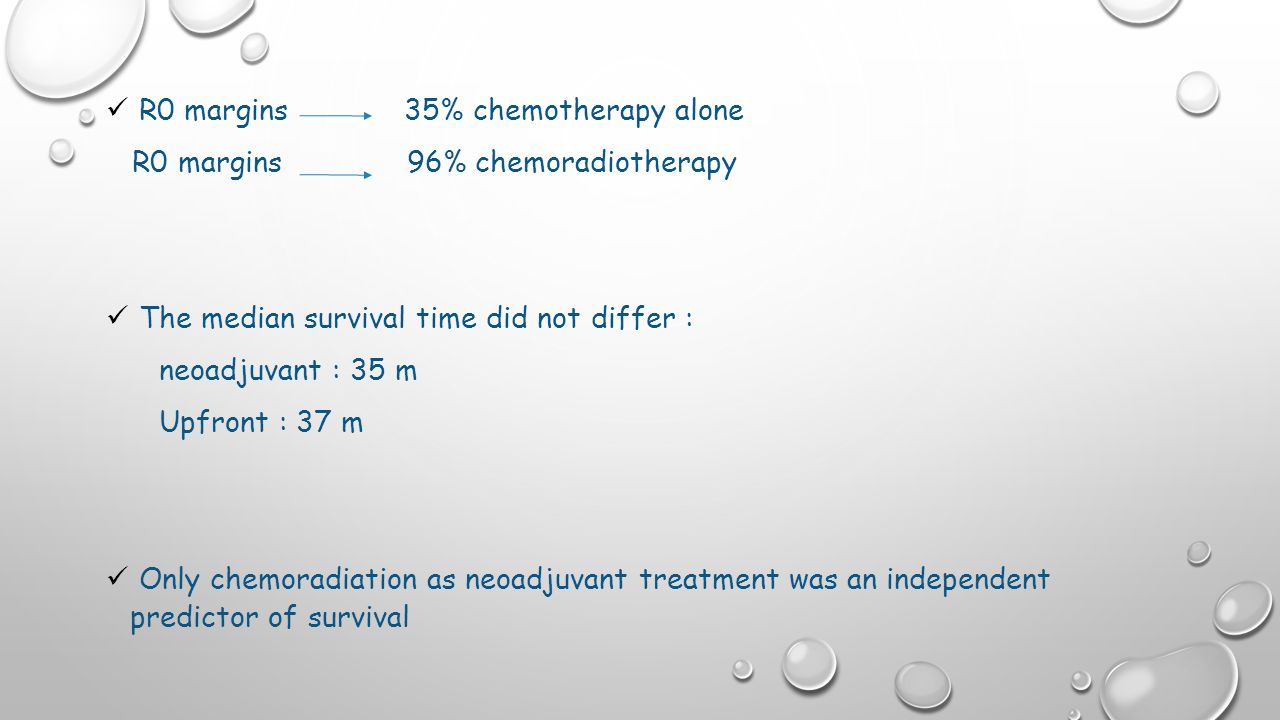 R0 margins 35% chemotherapy alone R0 margins 96% chemoradiotherapy The median survival time did not differ : neoadjuvant : 35 m Upfront : 37 m Only chemoradiation as neoadjuvant treatment was an independent predictor of survival