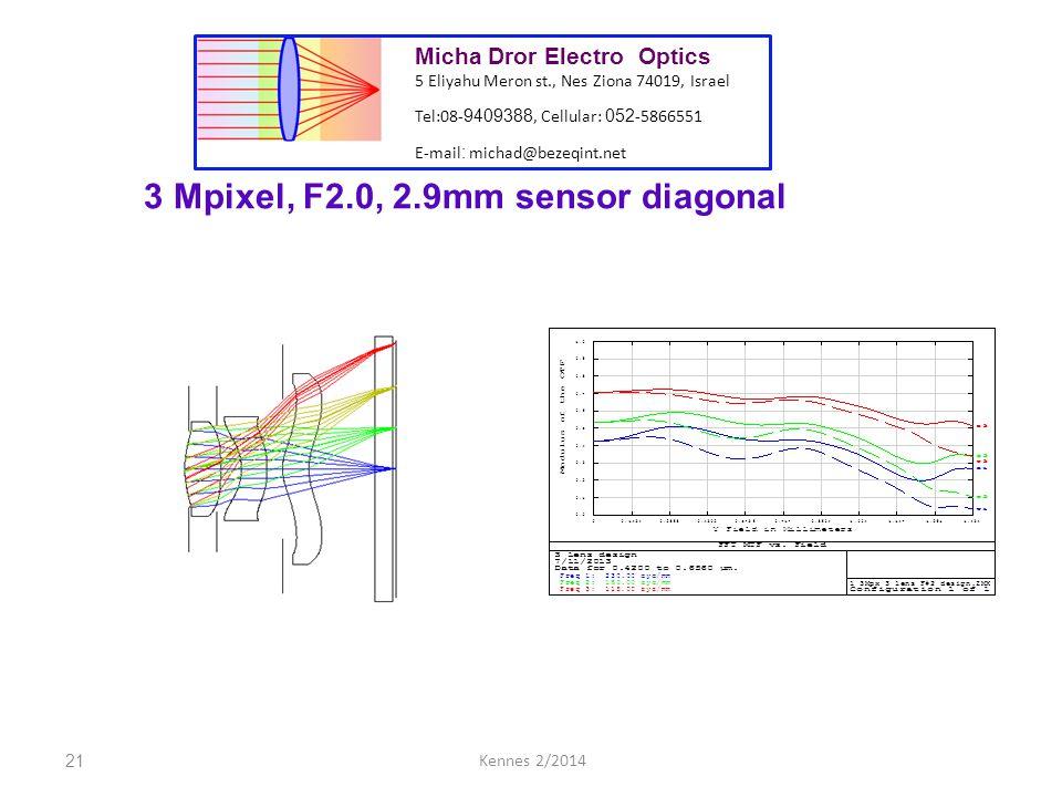 21Kennes 2/2014 Micha Dror Electro Optics 5 Eliyahu Meron st., Nes Ziona 74019, Israel Tel:08- 9409388, Cellular: 052 -5866551 E-mail : michad@bezeqint.net 3 Mpixel, F2.0, 2.9mm sensor diagonal