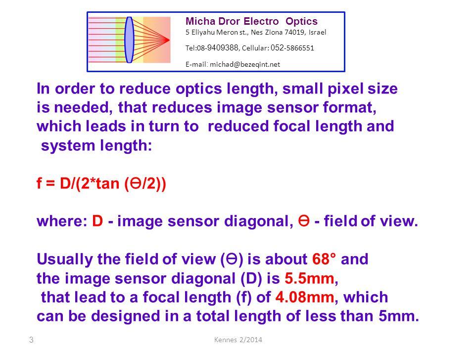 4Kennes 2/2014 Resolution of optics is measured in lp/mm.
