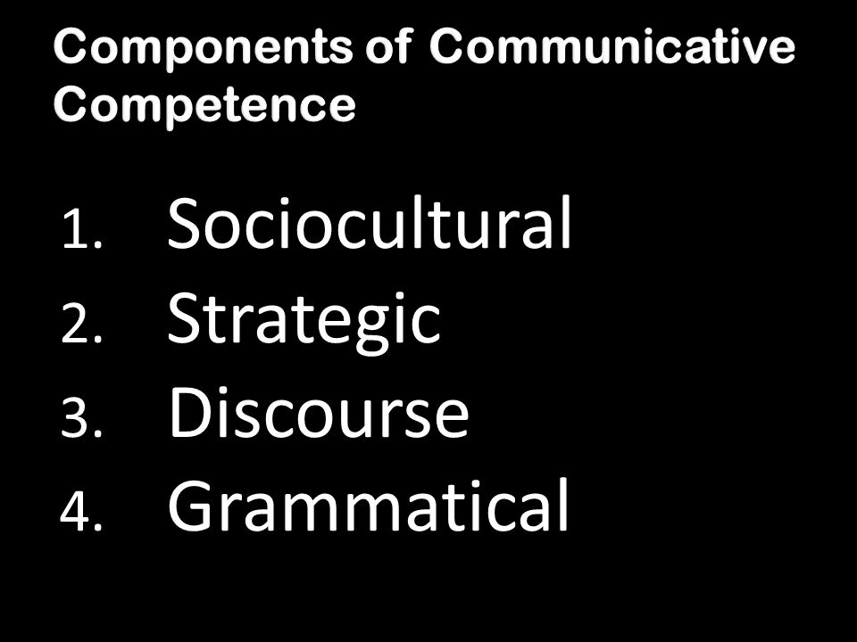 1. Sociocultural 2. Strategic 3. Discourse 4. Grammatical