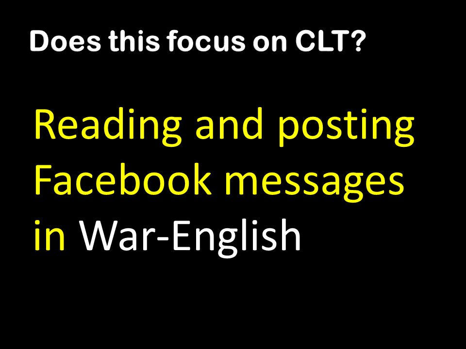 Reading and posting Facebook messages in War-English