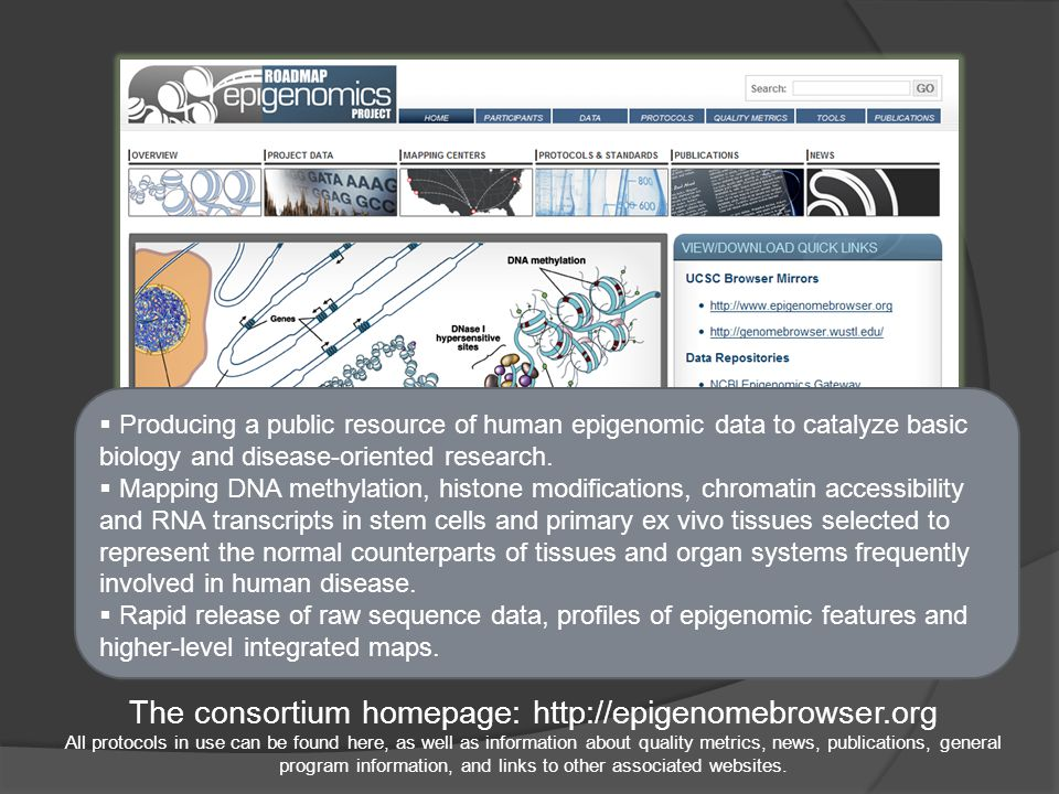 The consortium homepage: http://epigenomebrowser.org All protocols in use can be found here, as well as information about quality metrics, news, publications, general program information, and links to other associated websites.