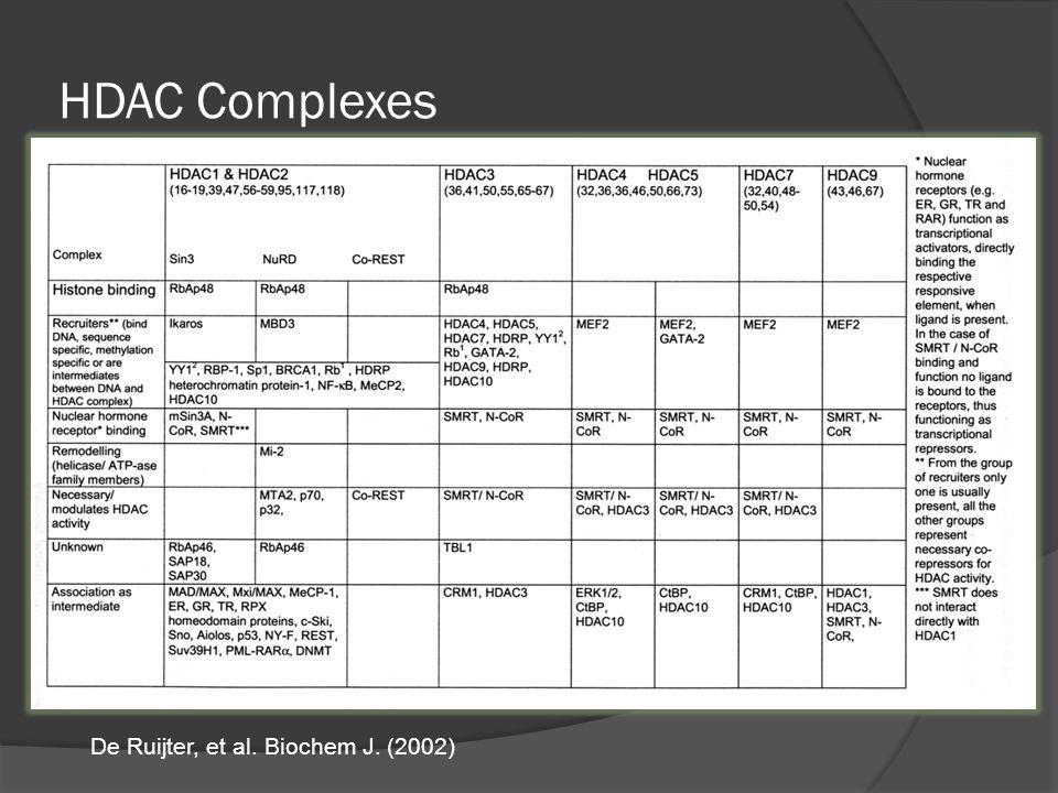 HDAC Complexes De Ruijter, et al. Biochem J. (2002)
