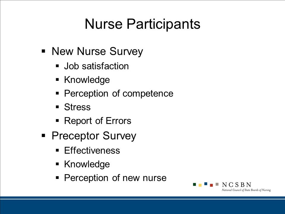 Nurse Participants  New Nurse Survey  Job satisfaction  Knowledge  Perception of competence  Stress  Report of Errors  Preceptor Survey  Effectiveness  Knowledge  Perception of new nurse