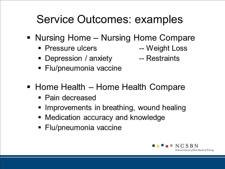 Service Outcomes: examples  Nursing Home – Nursing Home Compare  Pressure ulcers-- Weight Loss  Depression / anxiety-- Restraints  Flu/pneumonia vaccine  Home Health – Home Health Compare  Pain decreased  Improvements in breathing, wound healing  Medication accuracy and knowledge  Flu/pneumonia vaccine