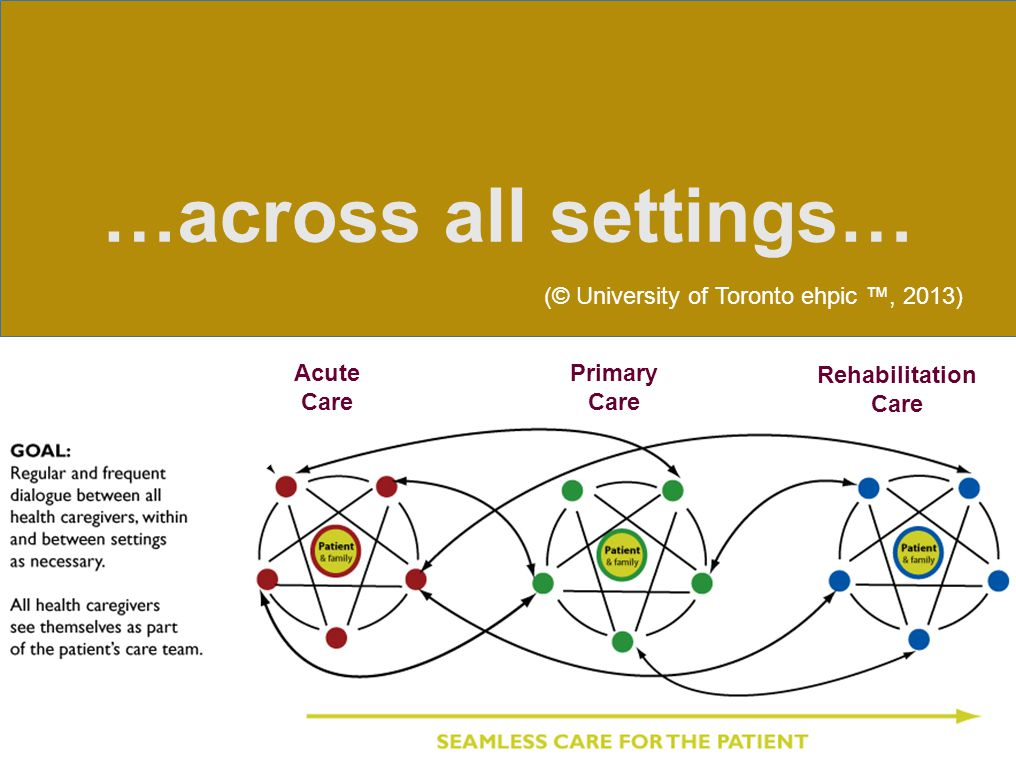 Rehabilitation Care Primary Care Acute Care …across all settings… (© University of Toronto ehpic ™, 2013)