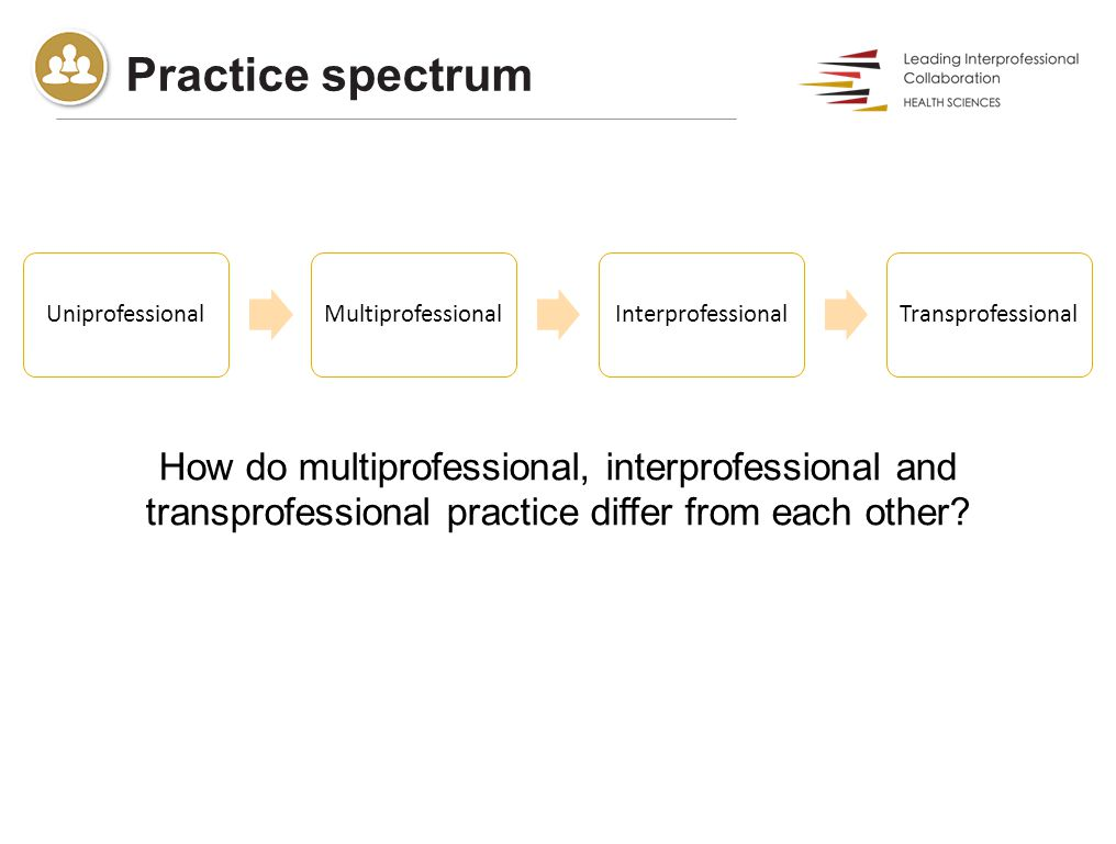 Practice spectrum How do multiprofessional, interprofessional and transprofessional practice differ from each other.