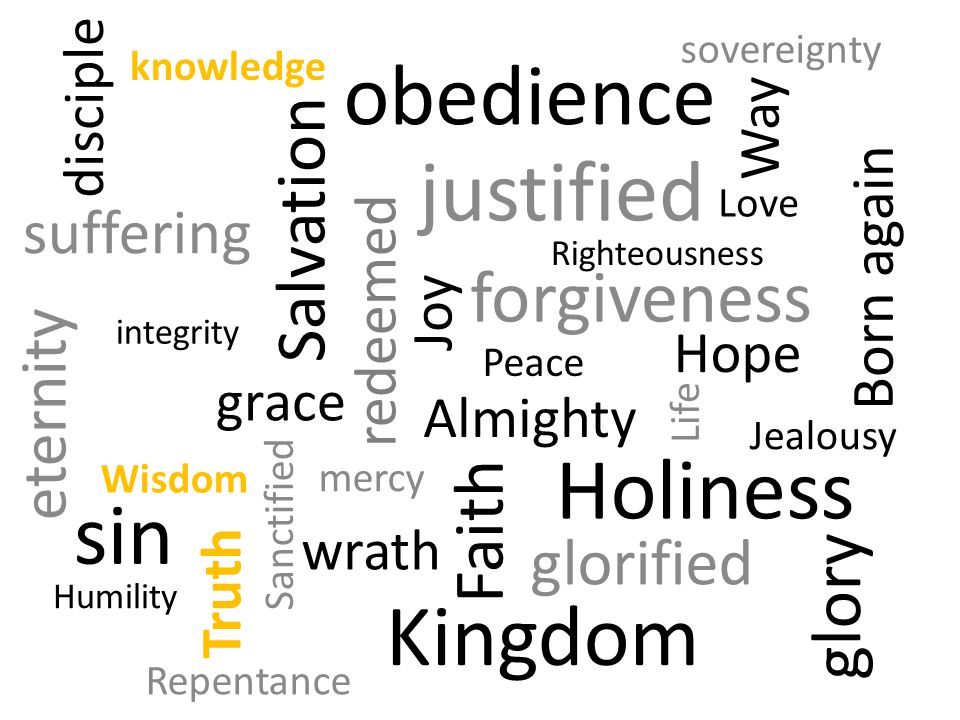 Faith Life justified Sanctified Hope Love Joy Righteousness Holiness Jealousy Salvation glorified Peace forgiveness Born again redeemed mercy grace Almighty Way Truth Wisdom knowledge Repentance obedience sin glory eternity wrath suffering Kingdom Humility sovereignty disciple integrity