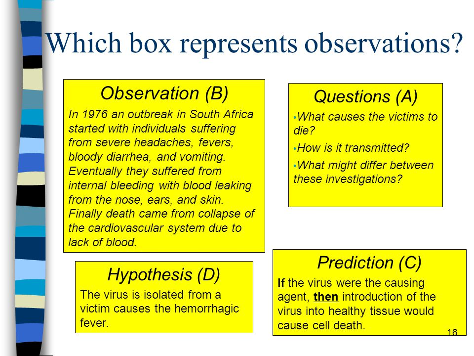 Which box represents observations.