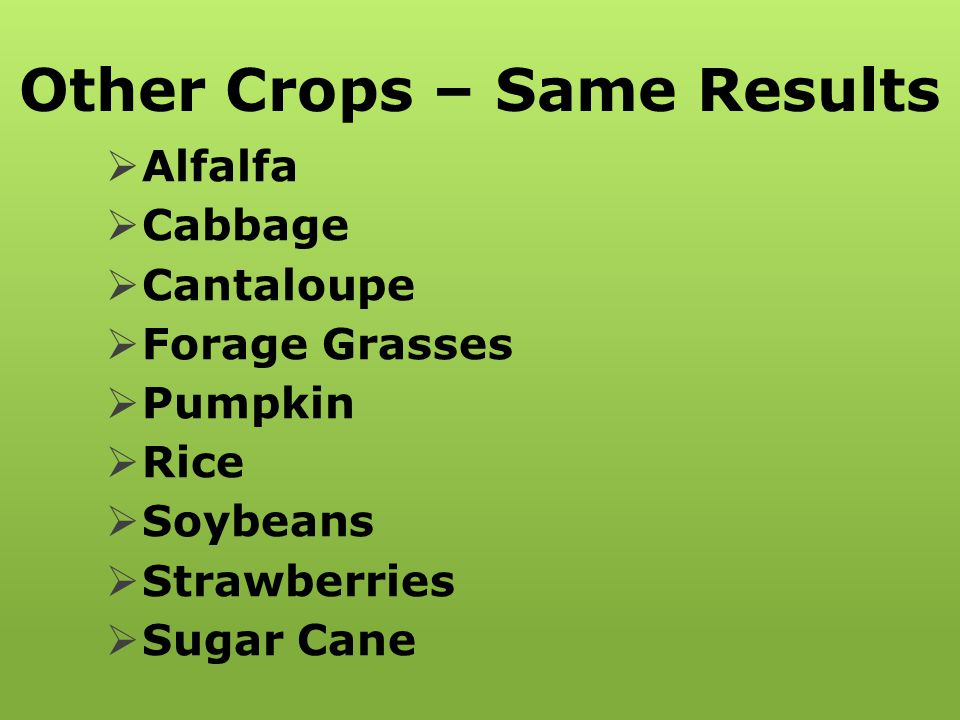 Other Crops – Same Results  Alfalfa  Cabbage  Cantaloupe  Forage Grasses  Pumpkin  Rice  Soybeans  Strawberries  Sugar Cane