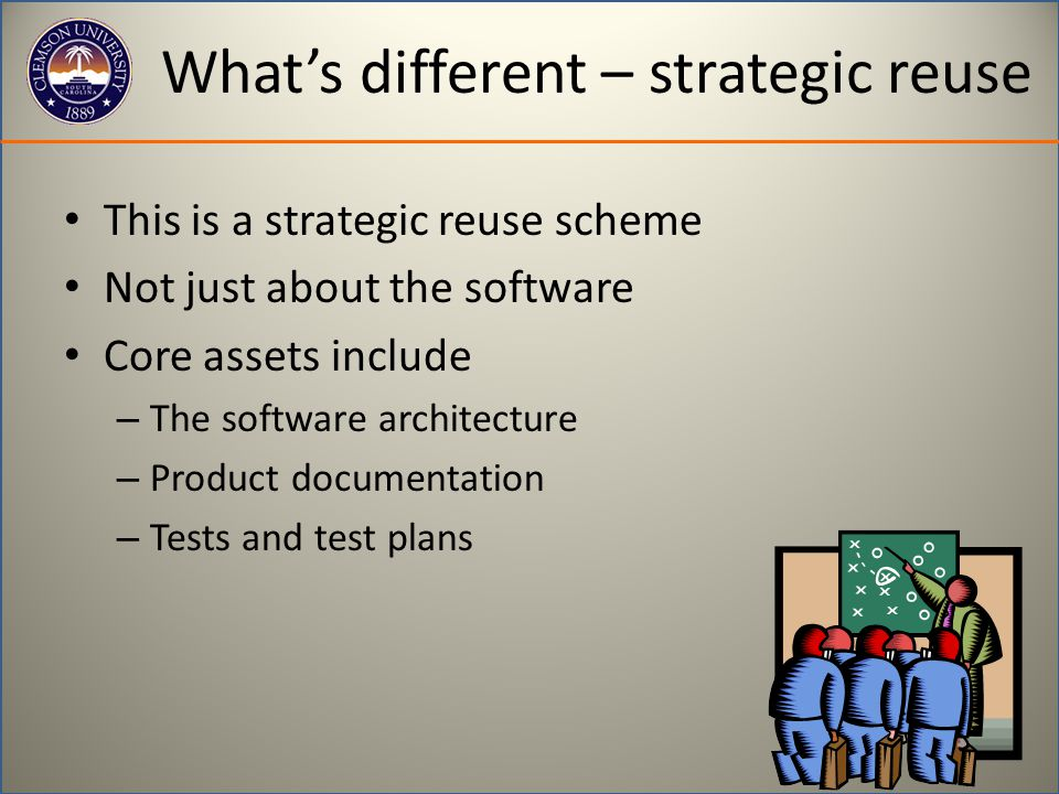What's different – strategic reuse This is a strategic reuse scheme Not just about the software Core assets include – The software architecture – Product documentation – Tests and test plans