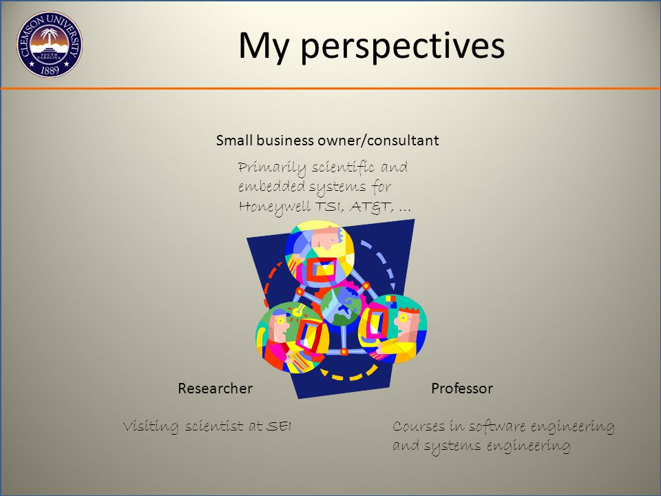 My perspectives ResearcherProfessor Small business owner/consultant Primarily scientific and embedded systems for Honeywell TSI, AT&T, … Courses in software engineering and systems engineering Visiting scientist at SEI