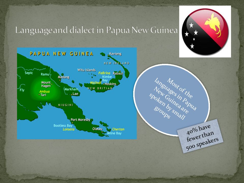 Most of the languages in Papua New Guinea are spoken by small groups 40% have fewer than 500 speakers