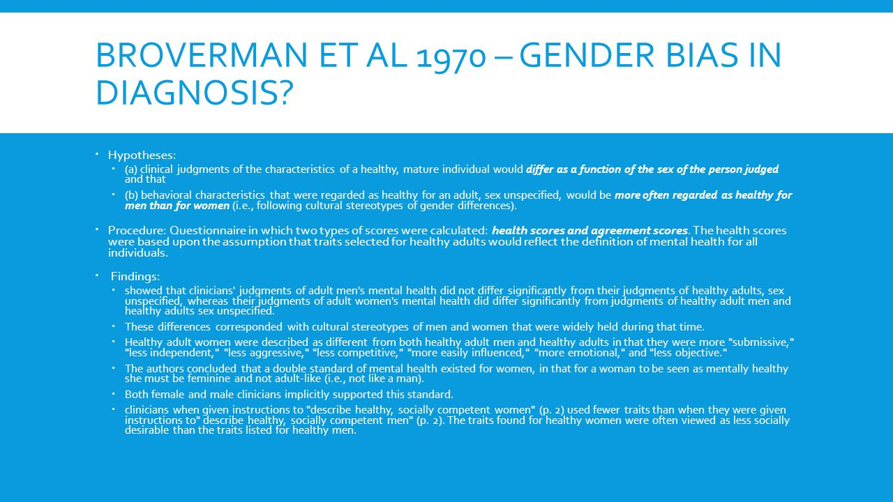 BROVERMAN ET AL 1970 – GENDER BIAS IN DIAGNOSIS.