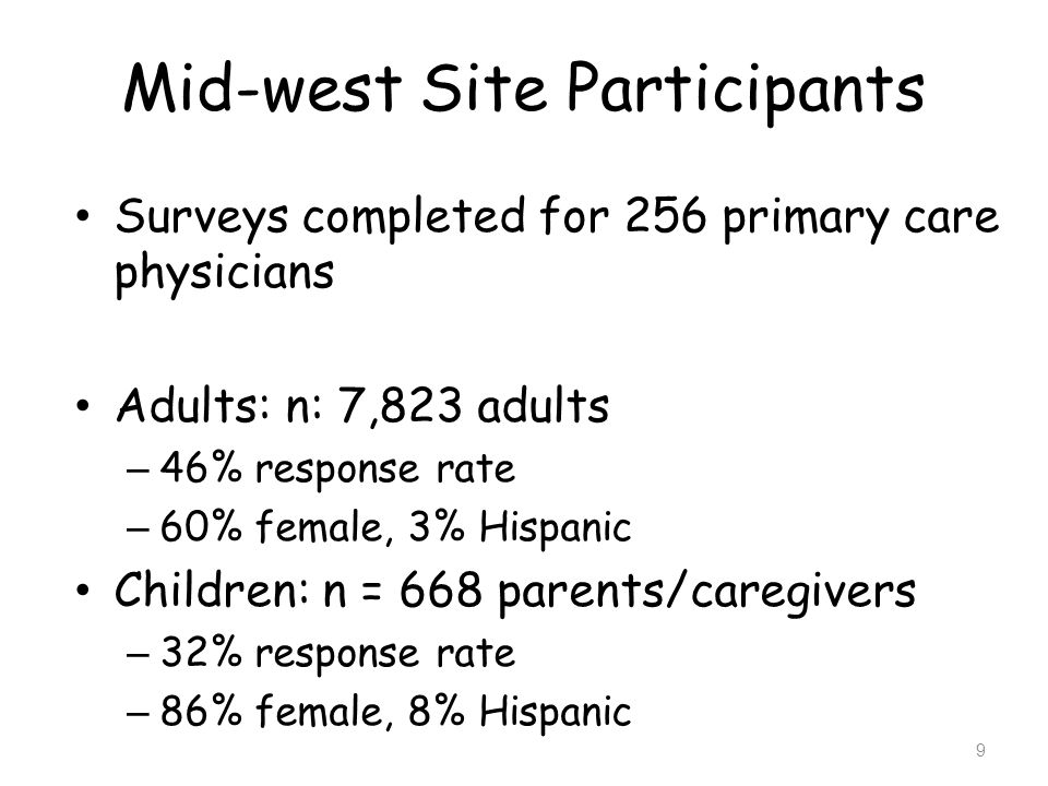 Mid-west Site Participants Surveys completed for 256 primary care physicians Adults: n: 7,823 adults – 46% response rate – 60% female, 3% Hispanic Chi