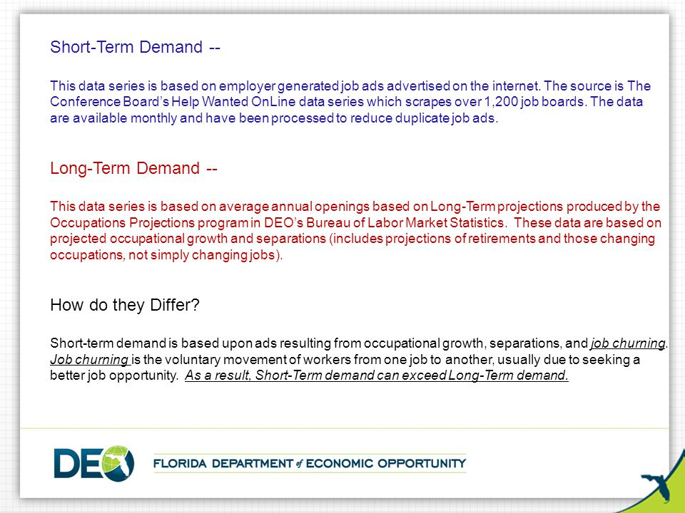 Short-Term Demand -- This data series is based on employer generated job ads advertised on the internet. The source is The Conference Board's Help Wan