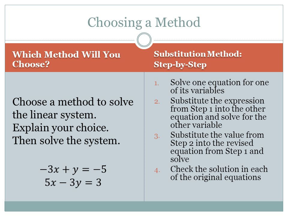 Which Method Will You Choose? Substitution Method: Step-by-Step Substitution Method: Step-by-Step 1. Solve one equation for one of its variables 2. Su