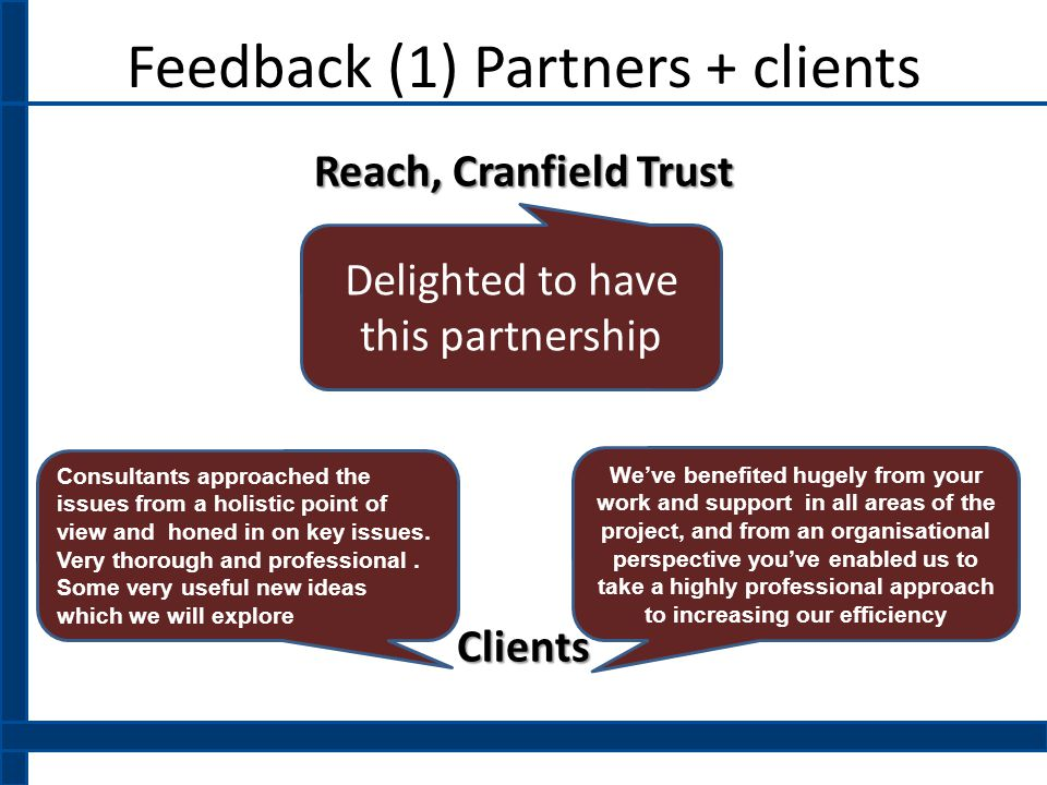 Feedback (1) Partners + clients Reach, Cranfield Trust Clients Delighted to have this partnership Consultants approached the issues from a holistic point of view and honed in on key issues.