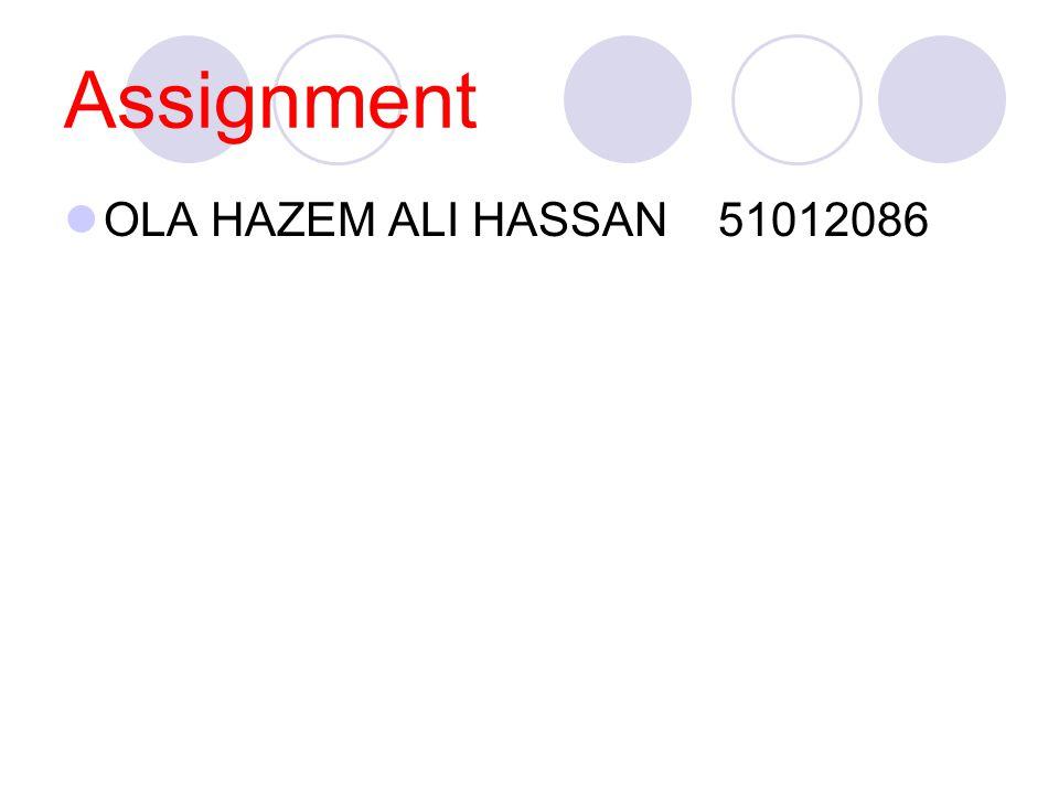 Assignment OLA HAZEM ALI HASSAN 51012086
