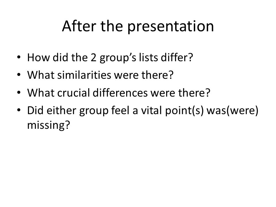 After the presentation How did the 2 group's lists differ.