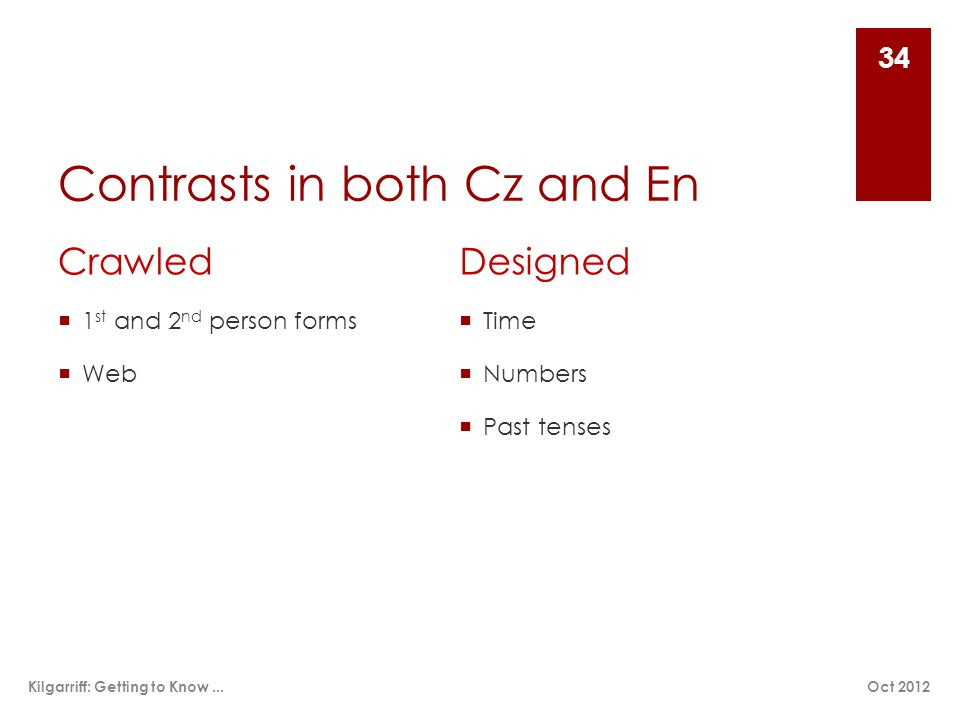 Contrasts in both Cz and En Crawled  1 st and 2 nd person forms  Web Designed  Time  Numbers  Past tenses Oct 2012Kilgarriff: Getting to Know...