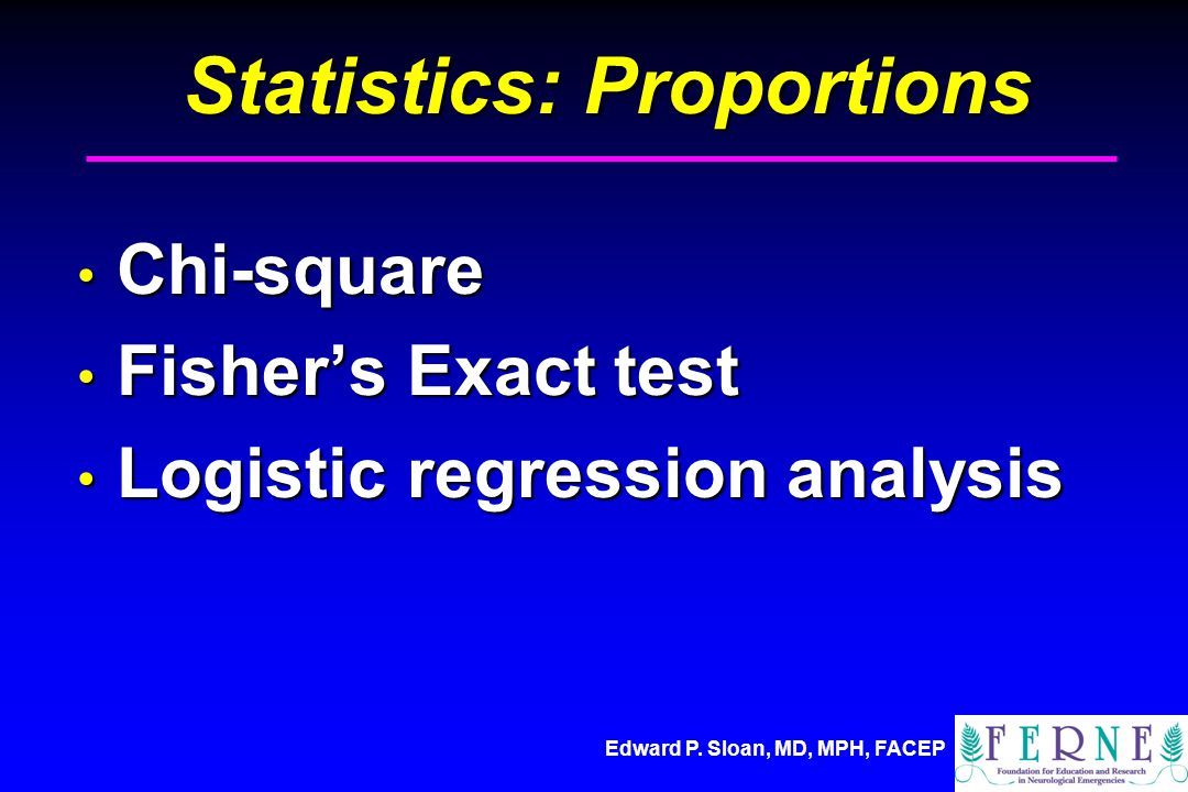 Edward P. Sloan, MD, MPH, FACEP Statistics: Proportions Chi-square Chi-square Fisher's Exact test Fisher's Exact test Logistic regression analysis Log