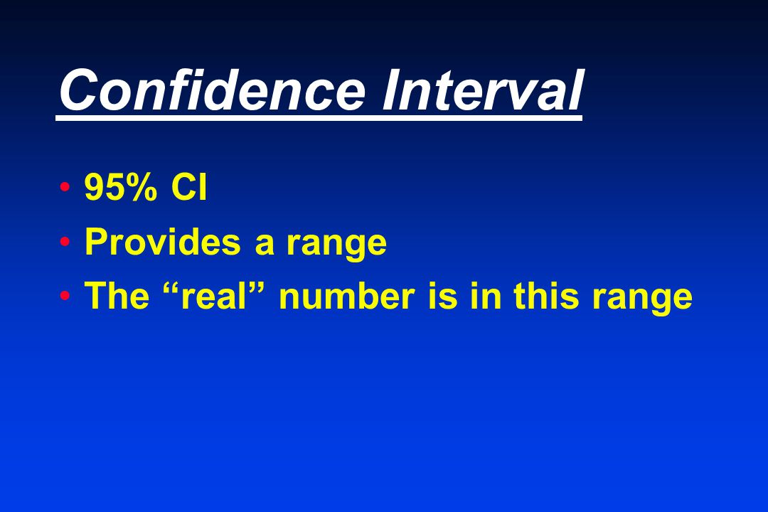 Confidence Interval 95% CI Provides a range The real number is in this range