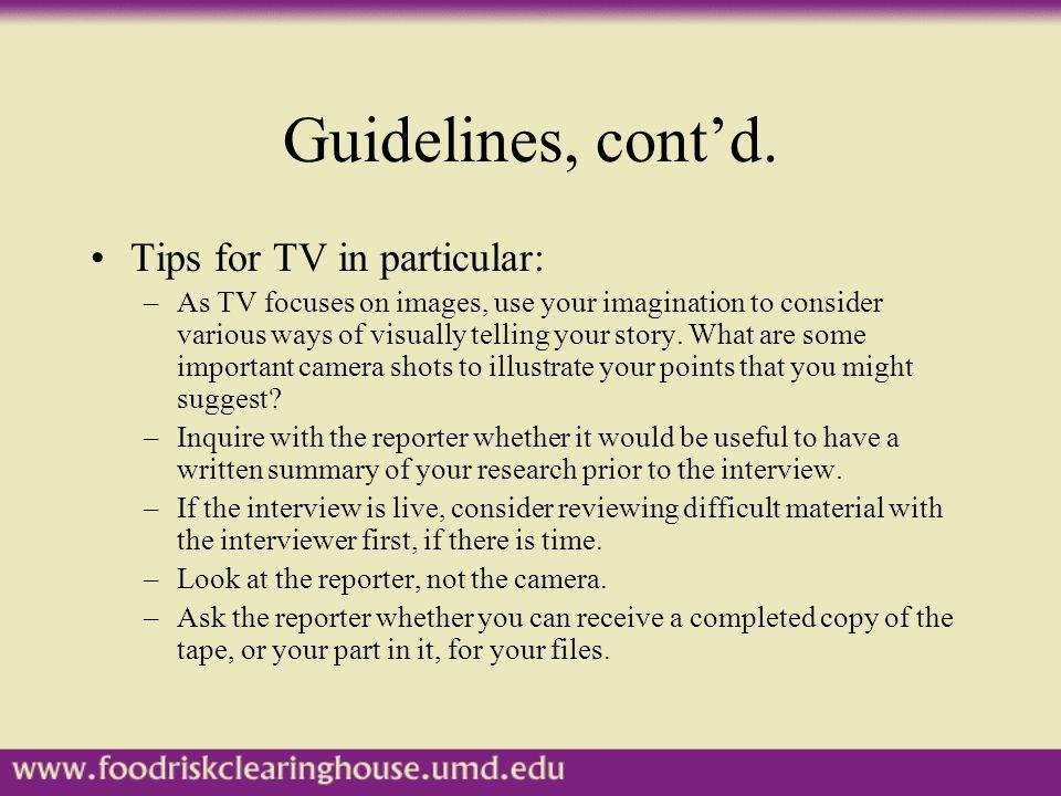 Guidelines, cont'd.
