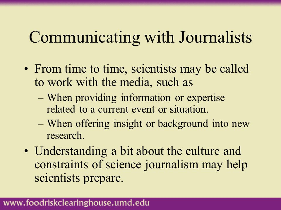 Scientists and Journalists: Why Is It So Difficult to Communicate.