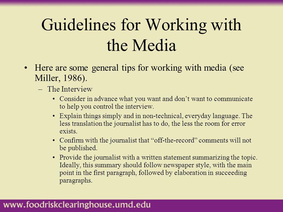 Guidelines, cont'd.Interview tips, cont'd.