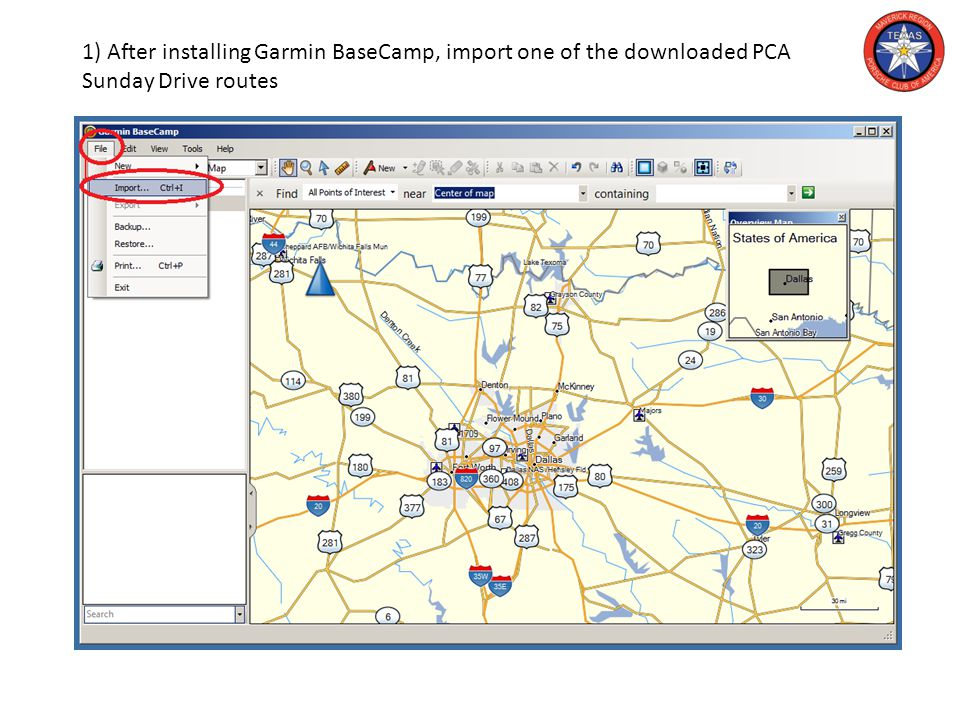 1) After installing Garmin BaseCamp, import one of the downloaded PCA Sunday Drive routes
