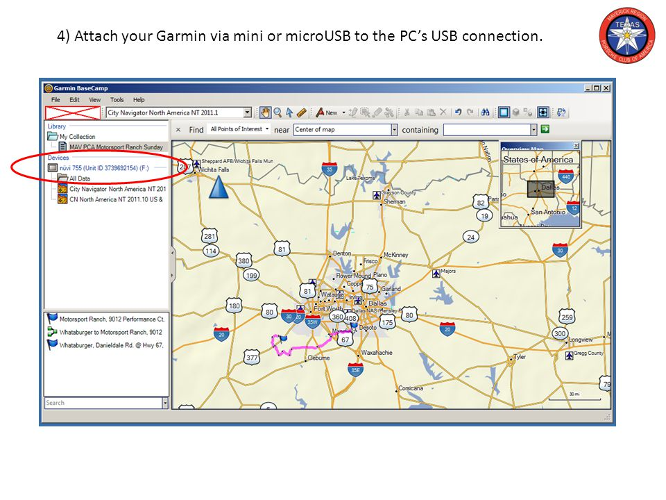 4) Attach your Garmin via mini or microUSB to the PC's USB connection.