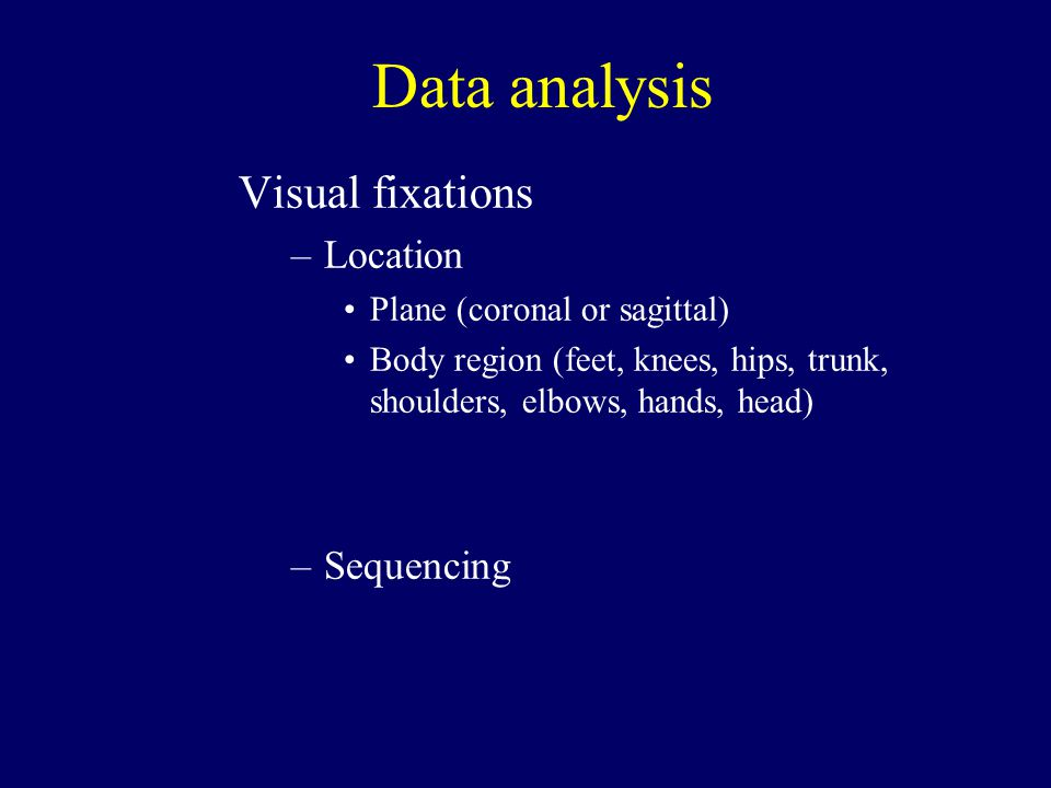 Data analysis Visual fixations –Location Plane (coronal or sagittal) Body region (feet, knees, hips, trunk, shoulders, elbows, hands, head) –Sequencing