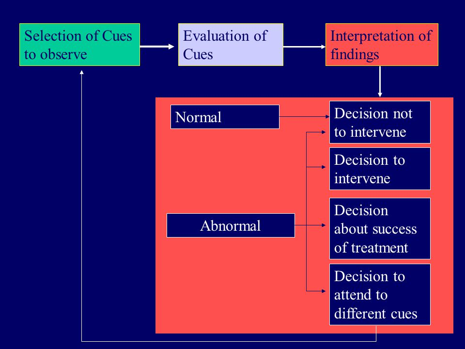 Selection of Cues to observe Evaluation of Cues Interpretation of findings Normal Abnormal Decision to intervene Decision about success of treatment Decision not to intervene Decision to attend to different cues