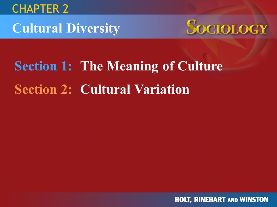 CHAPTER 2 Section 1:The Meaning of Culture Section 2:Cultural Variation Cultural Diversity