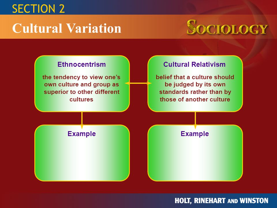 SECTION 2 Cultural Variation Ethnocentrism Cultural RelativismExample the tendency to view one's own culture and group as superior to other different