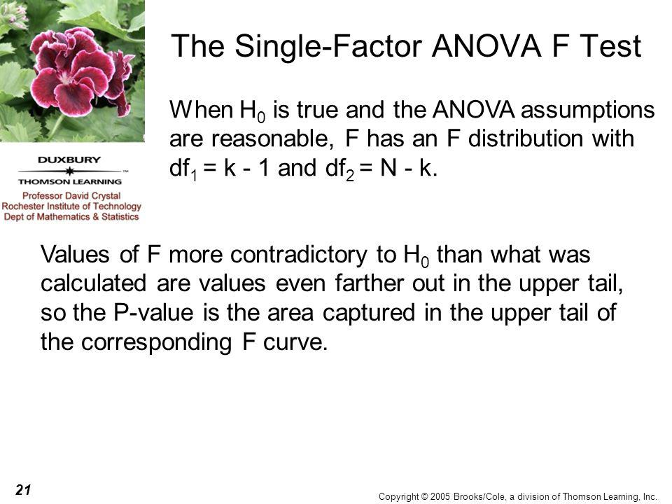 21 Copyright © 2005 Brooks/Cole, a division of Thomson Learning, Inc. The Single-Factor ANOVA F Test When H 0 is true and the ANOVA assumptions are re