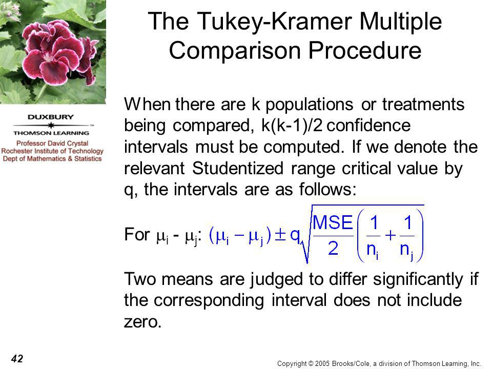 42 Copyright © 2005 Brooks/Cole, a division of Thomson Learning, Inc. The Tukey-Kramer Multiple Comparison Procedure When there are k populations or t