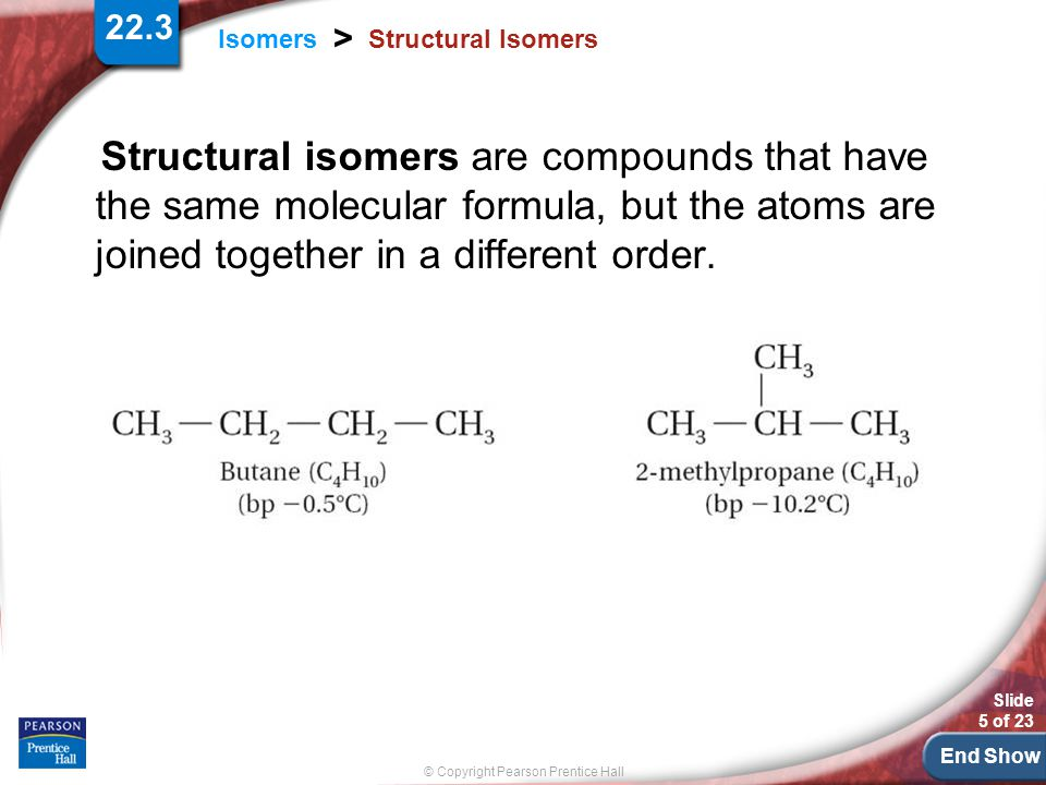 End Show Slide 5 of 23 © Copyright Pearson Prentice Hall 22.3 Isomers > Structural Isomers Structural isomers are compounds that have the same molecular formula, but the atoms are joined together in a different order.