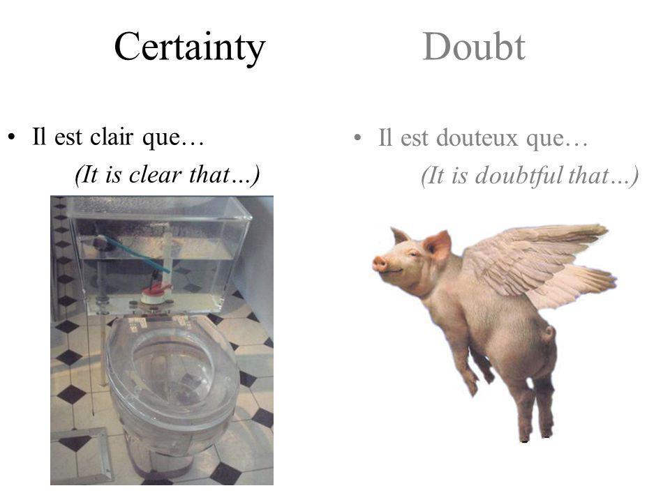 Certainty Doubt Il est sûr(e)/vrai/certain que… (It is sure/true/certain that…) Il n'est pas sûr(e)/vrai/certain que… Est-il sûr(e)/vrai/certain que…