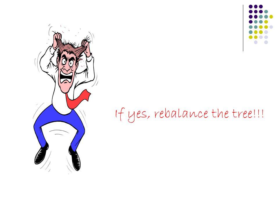 If yes, rebalance the tree!!!