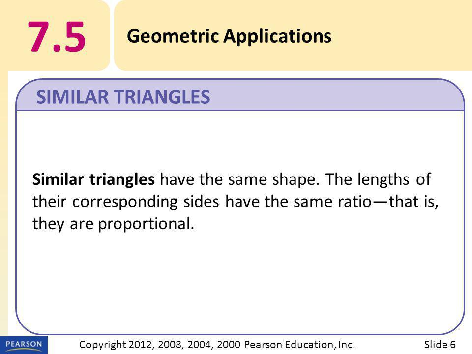 EXAMPLE 7.5 Geometric Applications b Use proportions to find lengths in pairs of figures that differ only in size.