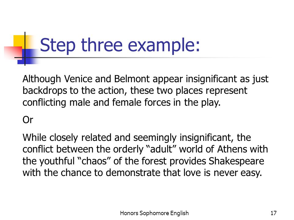 Honors Sophomore English17 Step three example: Although Venice and Belmont appear insignificant as just backdrops to the action, these two places represent conflicting male and female forces in the play.